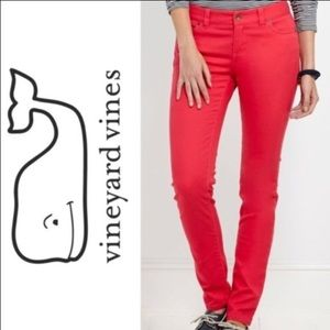 Vineyard Vines Coral Stretch Skinny Jeans